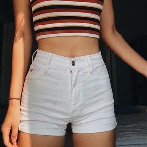 white highwaisted jean shorts